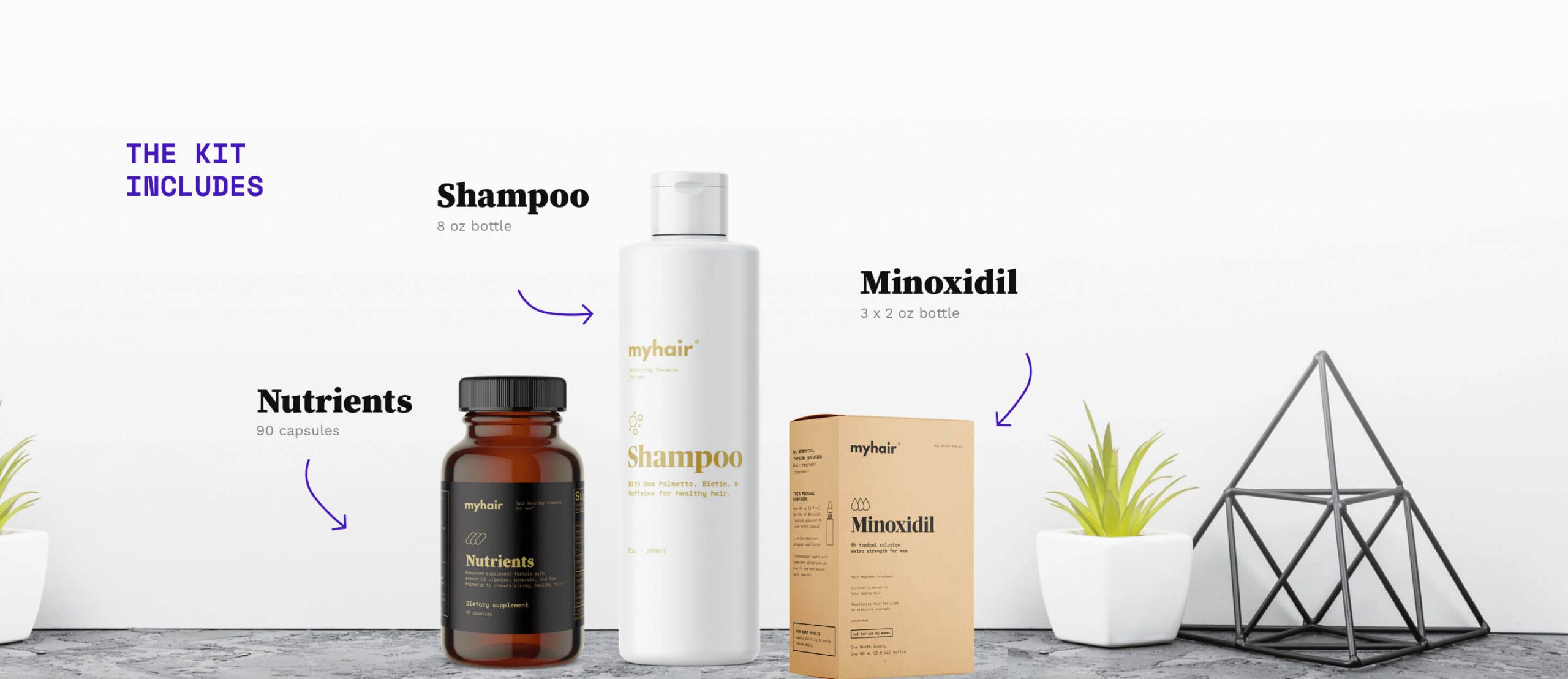 The Kit, showing an 8oz bottle of Shampoo, 90 capsule bottle of Nutrients, and three 2-ounce bottles of Minoxidil