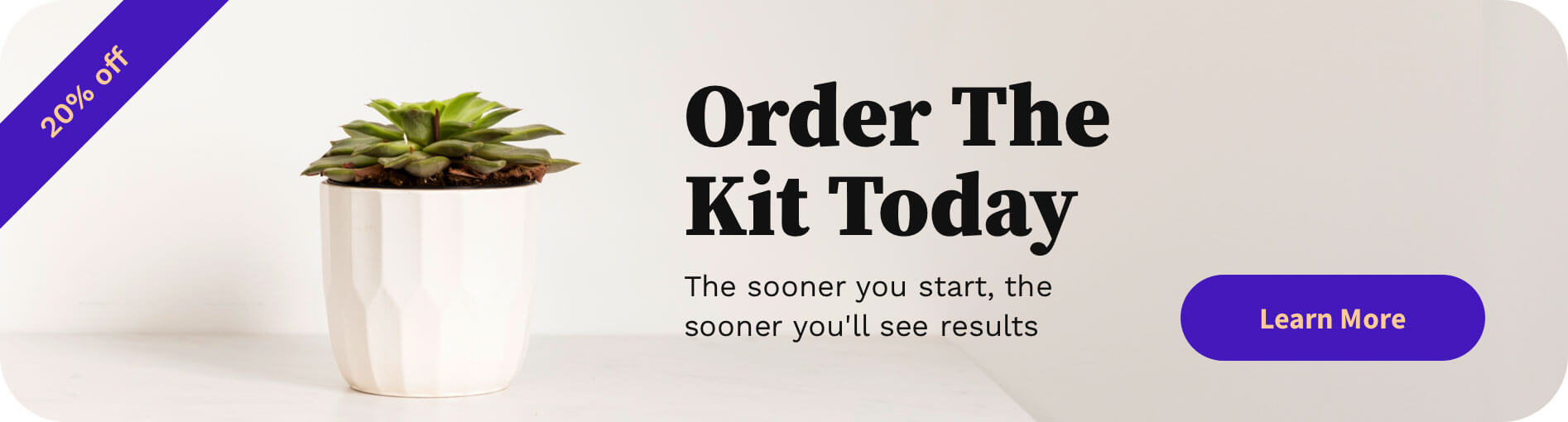 "A banner depicting a succulent plant, with the words: ""Order The Kit Today, the sooner you start, the sooner you'll see results"" and a 20 percent off sign in the corner"